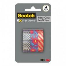 SCOTCH EXPRESSIONS WASHI TAPE C1017-3-P1 15mm X 10m MULTI PACK-3